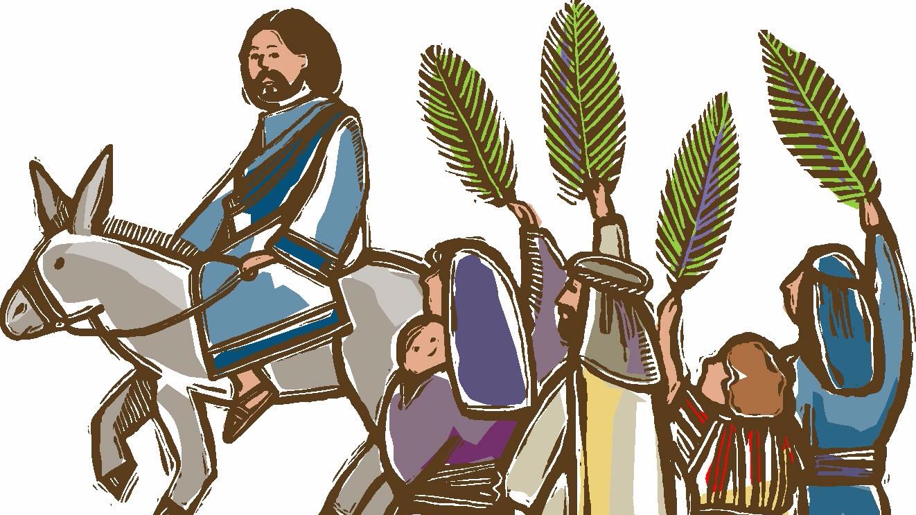 Triumphal entry, Palm Sunday, Messiah, via ChurchArt.com. Used with permission.