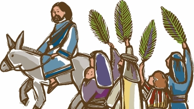 Triumphal entry, Palm Sunday, Messiah, via ChurchArt.com. Used with permission.
